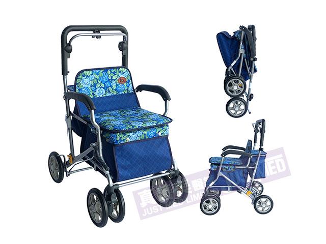 台灣摺合式助行/購物車 (藍玫瑰及藍格)